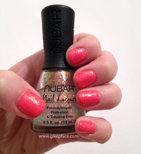 Barry M hi shine gelly nail polish in grapefruit, with nubar 2010 layered over