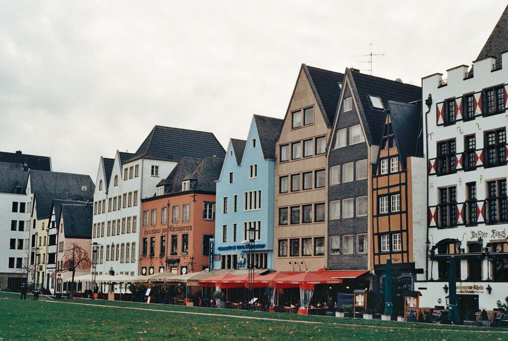 Colourful buildings along the river Rhine in Cologne