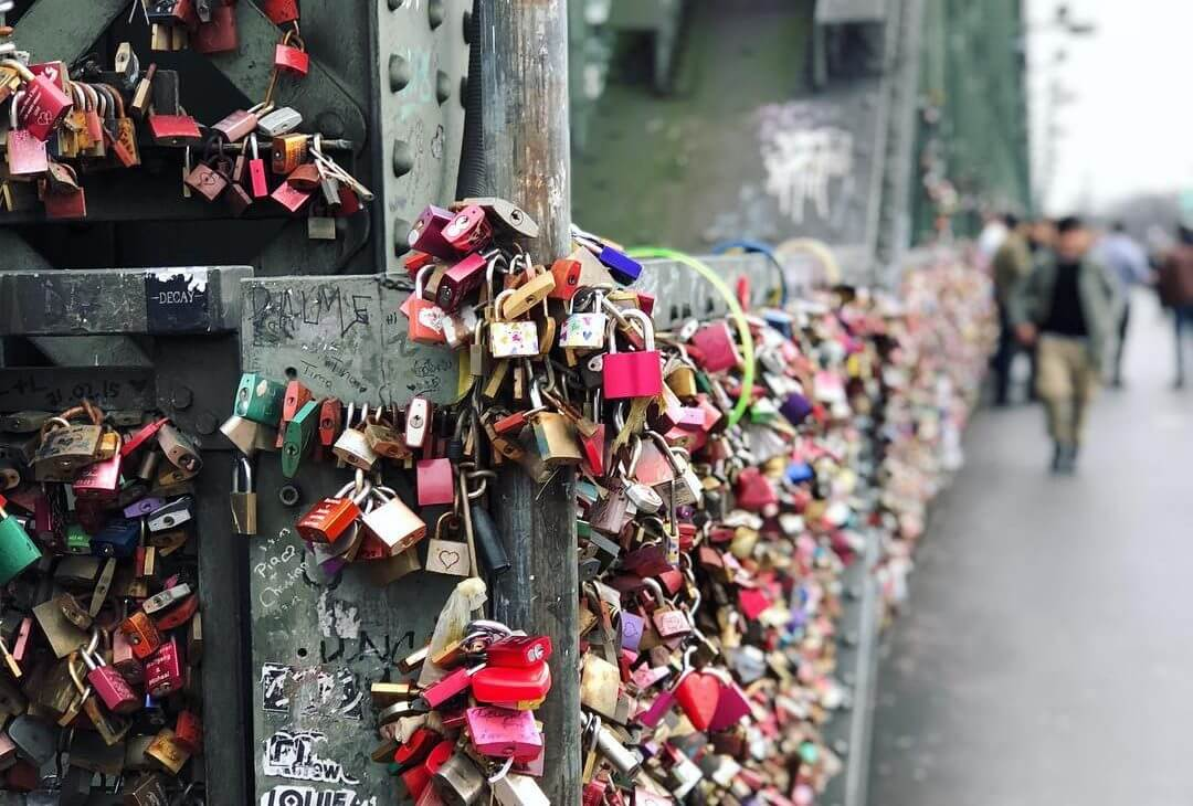 Locks of love on the hohenzollern bridge in cologne