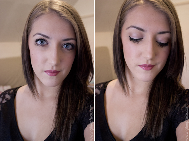 Two photos of my face, wearing a full face of makeup, to demonstrate how the Estee Lauder Double Wear foundation looks on me